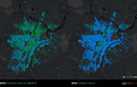 Confronto: Popolo della Libertà (2013) vs. Forza Italia (2014)